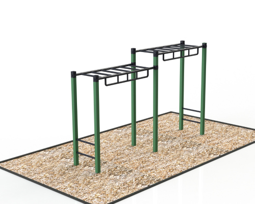 Monkey bar echelle horizontale 2018 atlasbarz support lateral double pallier 500x400 Exerciseurs pour parc
