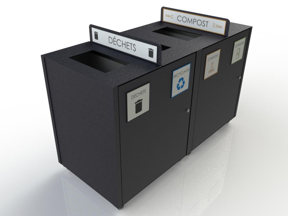 AtlasBarz Conteneur 4 fonctions urbain Collecteur à rebuts   Station multifonctions (déchets   recyclage   compost   consigné)
