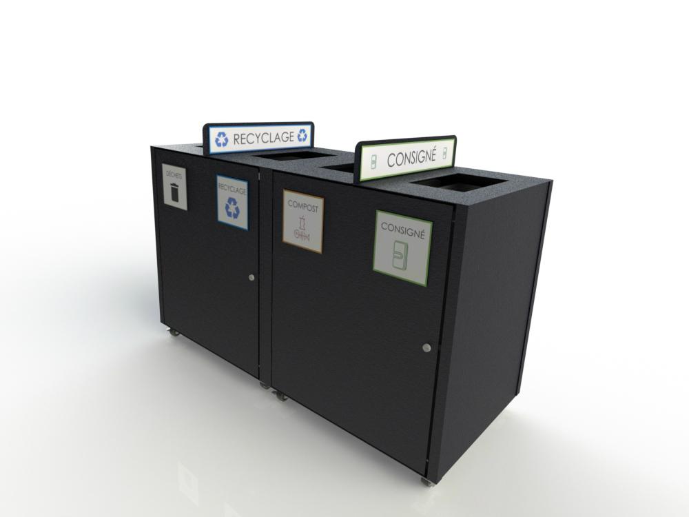 AtlasBarz Conteneur 4 sections 2018 déchets recyclage compost consigne Mobilier urbain