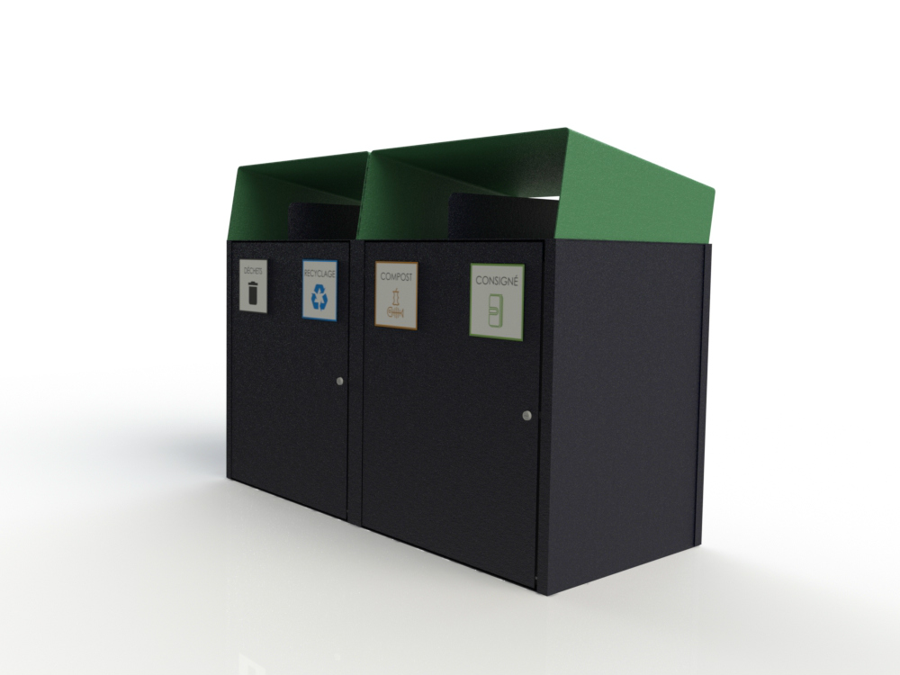 Collecteur extérieur modulaire 4 fonctions atlasbarz 2018 Waste collector   Multifunctional station (waste   recycling   compost   returnable)