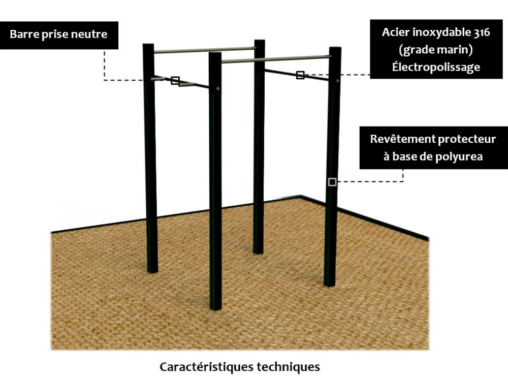 barre a traction caracteristiques atlasbarz Barres à traction « Pull up bars »   ABZPULLUP 01