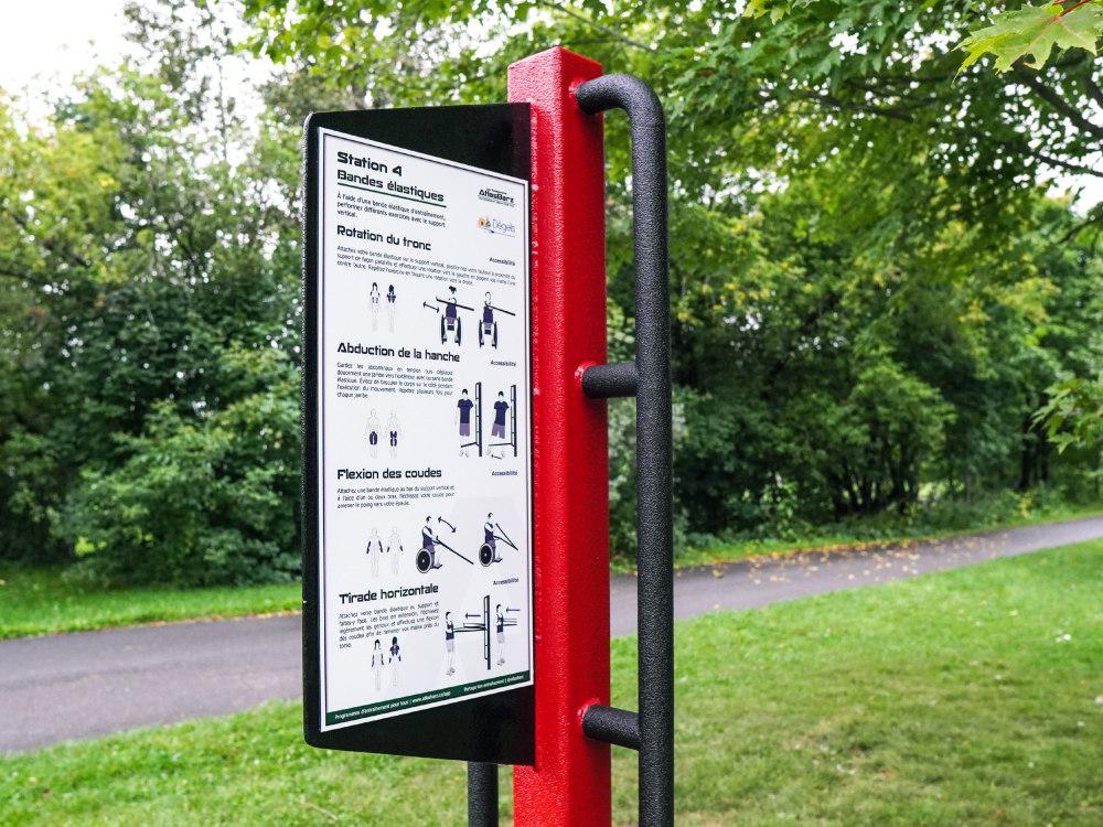 Support accessible panneau bande elastique Support Accessibilité   Exerciseur accessible
